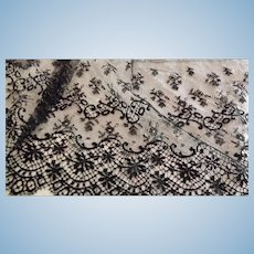 "34"" x 10"" Wide Piece of Black Lace for Doll Costuming"