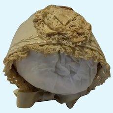 Small White Wool Bonnet Featherstitching