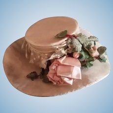 Silk Hat with Ribbon Rose Decoration