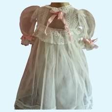 "11"" Netting and Lace Doll Dress and Half Slip"
