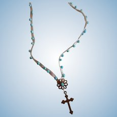 Delicate Beaded Ribbon Necklace with Cross