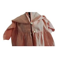 "Hand Sewn Pink Silk Dress or Coat with Cape 20"" Long"