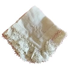 """Tiny Hanky for French Fashion with Initial """"M"""""""