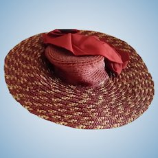 Burgundy and Beige Straw Hat with Burgundy Top and Ribbon