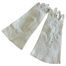 """4 1/2"""" White Leather Gloves for French Fashion (1 as is)"""