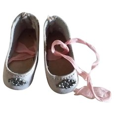 """Small 1 3/4"""" Faded Pink Leather Shoes for Small German or French Bebe"""