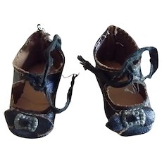 """1 7/8"""" Black Oilcloth Shoes for Small German or French Bebe"""