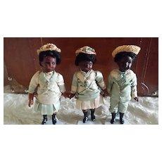 3 Miniature Black Bisque Head Dolls Original Clothes