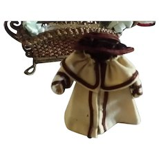 """Homemade 4"""" Wool Coat and Brown Hat for All Bisque"""