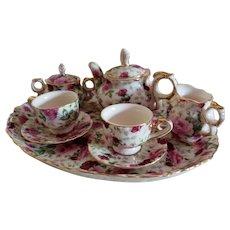 Vintage Boxed Tea Set Roses Pattern
