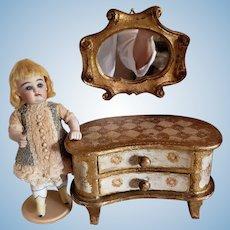 Florentine Italian Kidney Shaped Dresser and Mirror