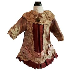 """7"""" Silk and Lace Burgundy Dress for Antique Bebe"""