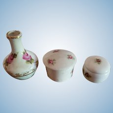 3 Porcelain Containers for Doll Display