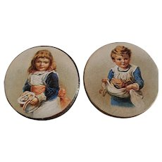 2 Little Metal Tins Pictures of Boy and Girl on Lid