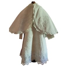 Large Pique Dress and Cape for Child Large Doll