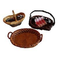 3 Wonderful Miniature Baskets for Doll Display