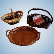 3 Wonderful Miniature Baskets for Doll Display