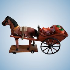 Small Horse Pulled Cart for Doll Display