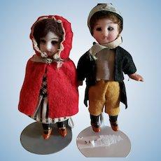 """2 Little 3 7/8"""" Bisque Head Dolls All Original"""