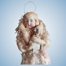 """6"""" Spun Cotton Ornament of Doll Holding Doll"""