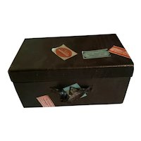 """5 1/2"""" x 3"""" x 2 3/4"""" Black Cardboard Trunk with Labels"""