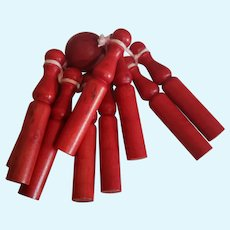 """Red Stained Wood Skittles Game 2 1/2"""" Long"""