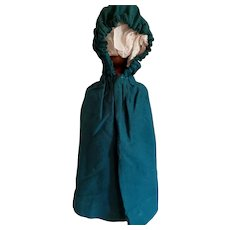 Homemade Teal Green Wool Cape