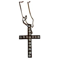 "1 1/2""  Beaded Cross Necklace on a Chain"