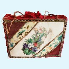 Red Cloth and Celluloid Doll Purse or Candy Container
