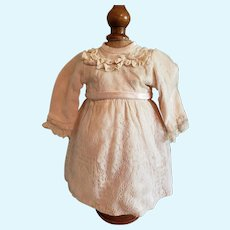 "9"" Lace Covered Peach Fabric Dress for French or German Doll"