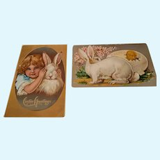 2 Easter Postcards with Bunnies