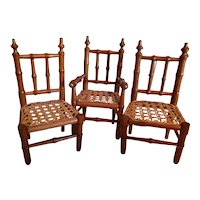3 Small Faux Bamboo Rush Bottom Chairs