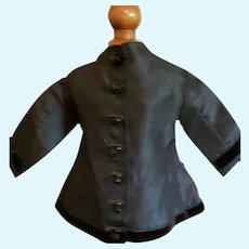 "8"" Black Silk Coat for Antique Doll"