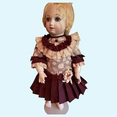 """9 1/2"""" Artist Made Burgundy and Lace Dress for Antique Doll"""