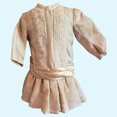 "10 1/2"" Artist Made Winter White Doll Dress"