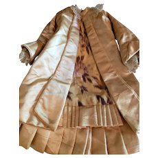 """Artist Made 13"""" Pale Gold Silk Bebe Dress"""