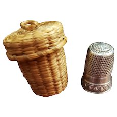 Sterling Silver Thimble in Grass Woven Basket