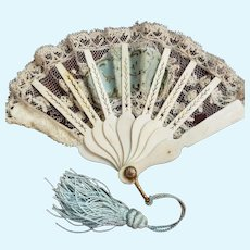 Carved Sticks and Lace Fan