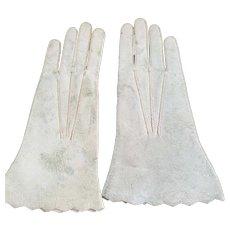 """Pale Blue Kidskin Gloves 3 3/4"""" long."""