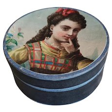 """2 5/8"""" Round Container with Lady on Cover"""