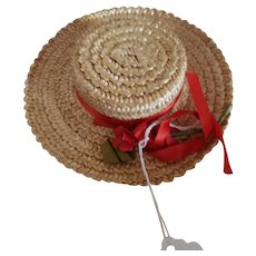 """Vintage Straw Hat for 12"""" to 15"""" Doll"""