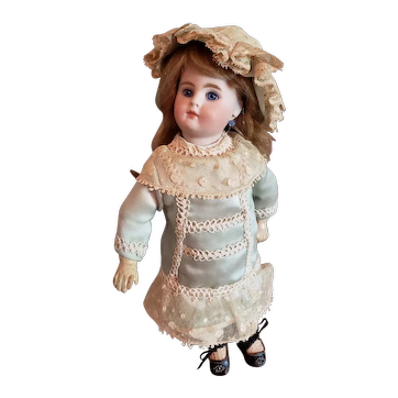 """10 1/2"""" Solid Dome Head German Antique Doll Blue Set Eyes"""