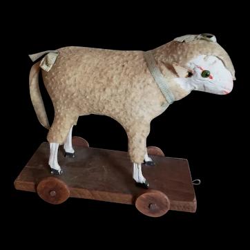 Early Sheep on Platform Wood Wheels