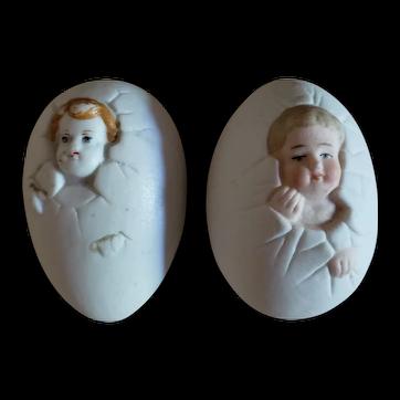 "2 Bisque ""Birthing Eggs"""