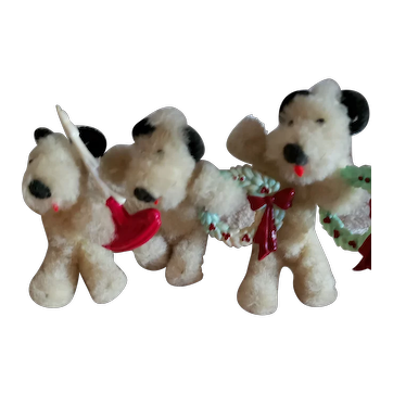 3 Rare Wool Dogs Holding Christmas Decorations