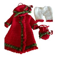 "4 Piece 5 1/4"" Red Crocheted Coat Dress and Hat"