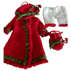 """4 Piece 5 1/4"""" Red Crocheted Coat Dress and Hat"""
