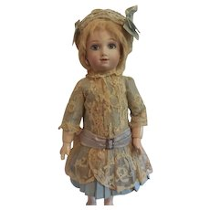 """Pale Green Silk and Lace Bebe Dress and Hat for 16-18"""" Freanch Doll - Red Tag Sale Item"""