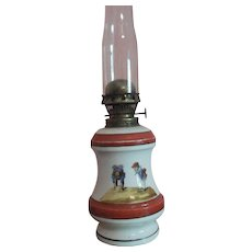 Painted Milk Glass Oil Lamp with Tall Chimney