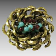Vintage Benedict of New York Pin in Goldtone enhanced with Ruby and Turquoise Glass